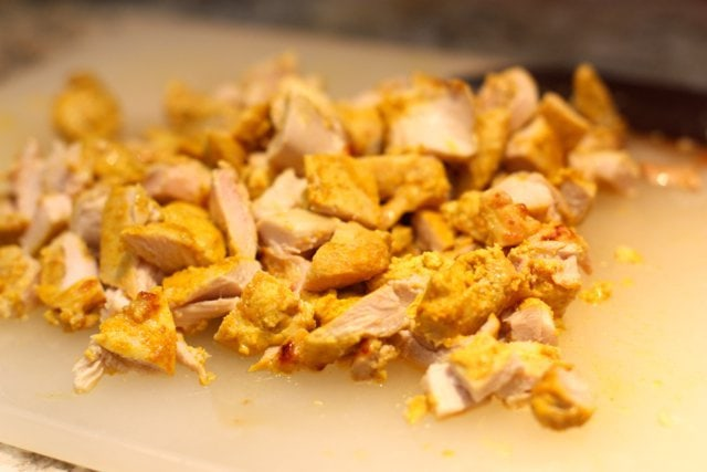 diced up cooked chicken pieces