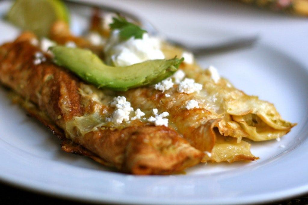 Gluten Free Chile Verde Chicken Enchiladas!
