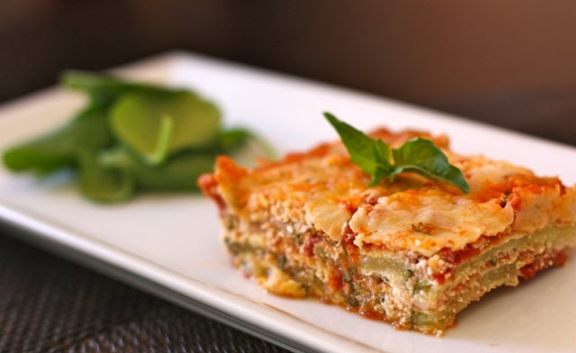 """A serving of Grain-Free Lasagna is made with """"breaded"""" zucchini and dry curd cottage cheese to mimic ricotta."""