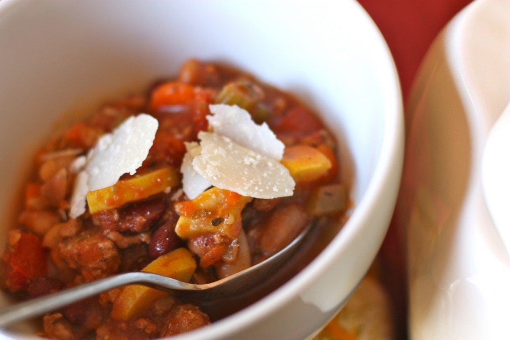 Crockpot Italian Fagioli Soup is loaded with ground turkey, chicken broth, tomatoes and beans.