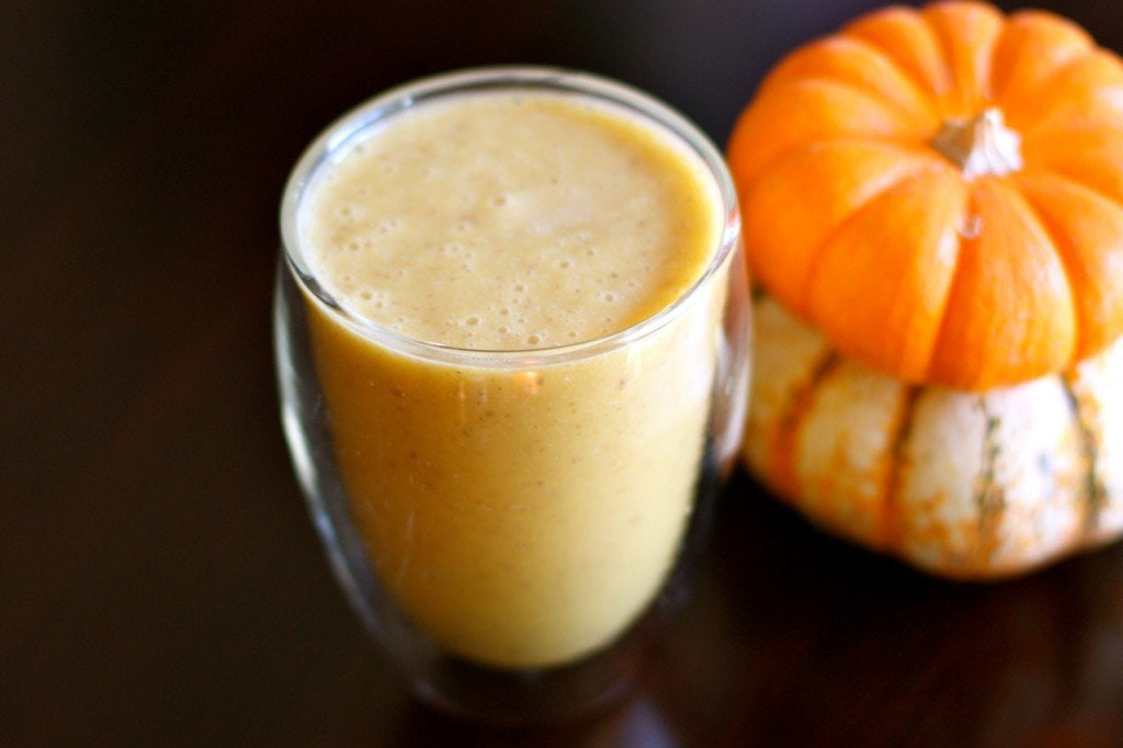 Frothy pumpkin banana smoothie.