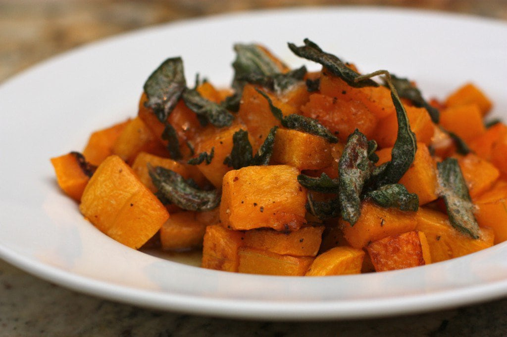 A yummy side dish of Roasted Butternut Squash with Maple Sage Brown Butter .