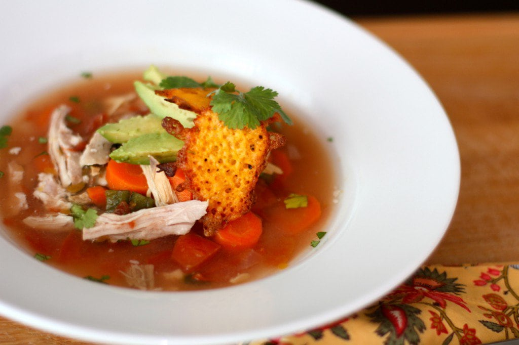 Crock Pot Mexican Chicken Soup with Cheddar Cheese Chips