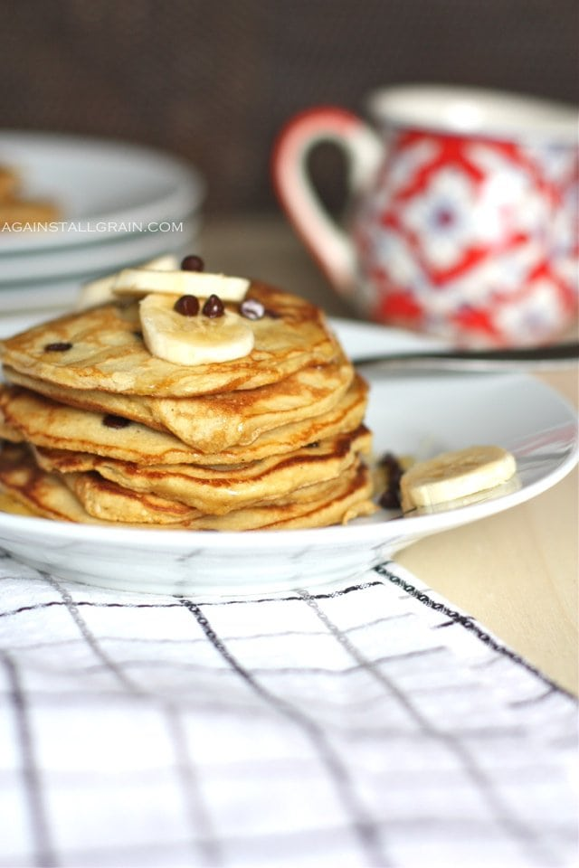 Paleo Banana Chocolate Chip Pancakes - From Against All Grain