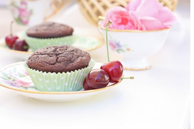 A plate of paleo Chocolate cherry muffins.