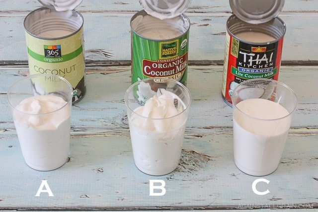 cans of coconut milk showing a test of different consistencies