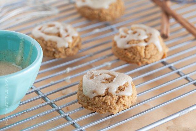 Delicious looking pumpkin cookies with vanilla cinnamon icing.