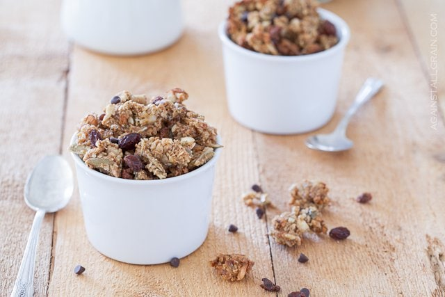Two bowls of delicious pumpkin spice granola that is gluten free, dairy free and scd compliant.