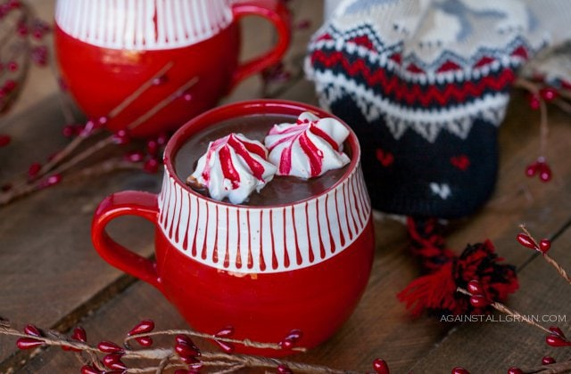 A steaming mug of Hot Cocoa with Peppermint Marshmallow Cookies, just in time for the holidays.