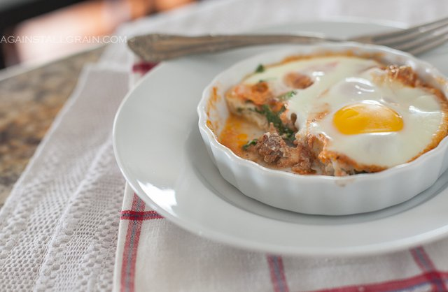 A ramekin of Italian Baked Eggs, Keto, Gluten Free and whole30 approved.