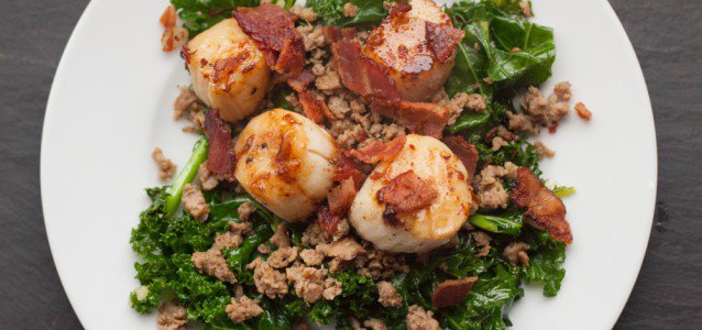 Scallops with Bacon, Sausage and Kale - from The Domestic Man @AgainstAllGrain