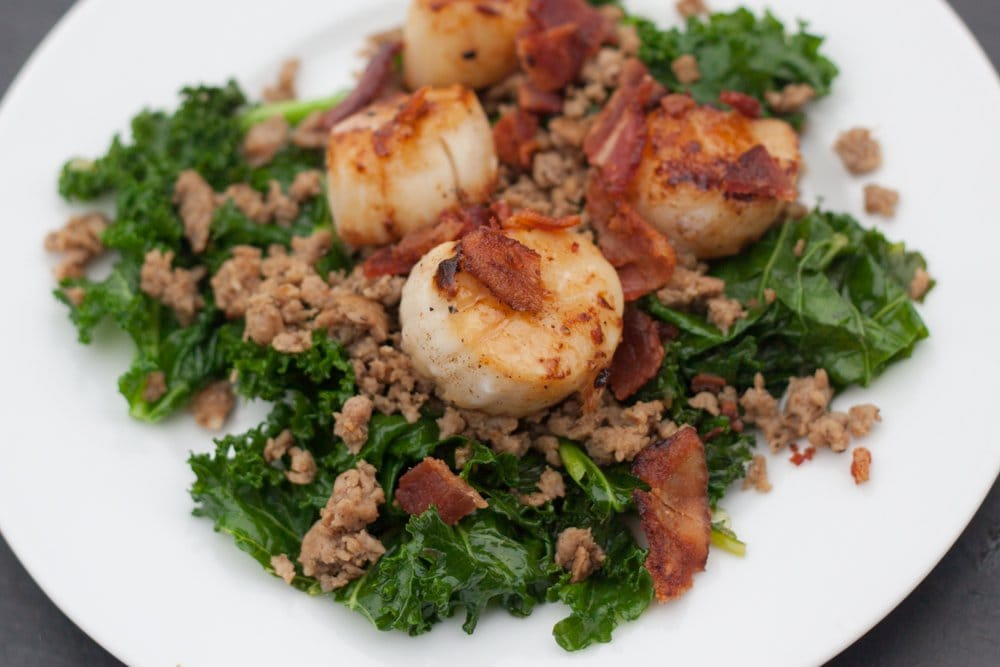 Scallops with Bacon, Sausage and Kale - from The Domestic Man @AgainstAllGrain #Paleo