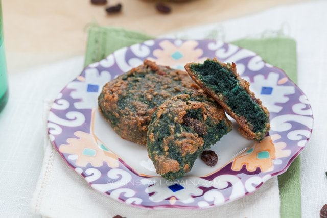 A plate of green St. Patty's Day 'oat'meal raisin cookies.