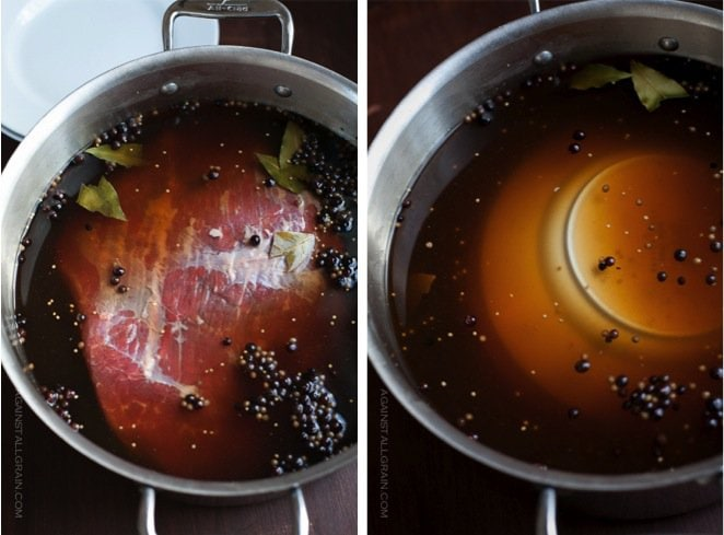 corned beed soaking in nitrate free brine