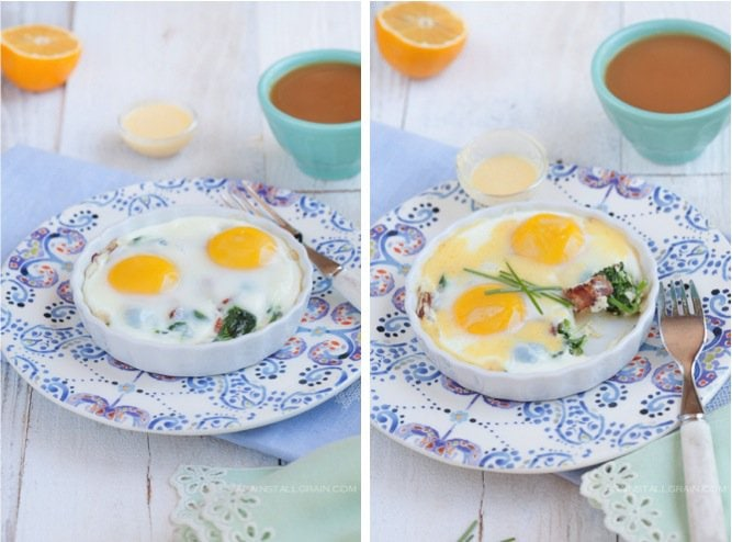 Baked Eggs with hollandaise, bacon, and power greens by Against All Grain