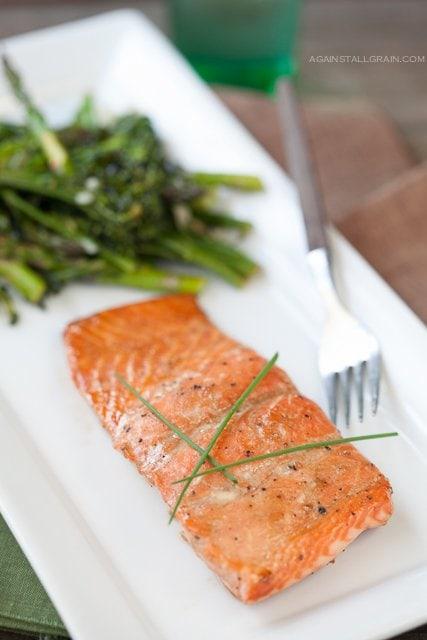 Glazed Salmon with Broccoli and Asparagus  by Against All Grain #Paleo #Glutenfree #Againstallgrain