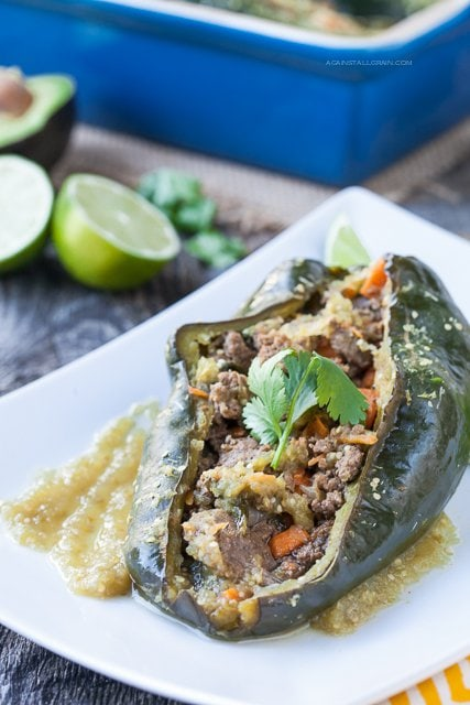 Stuffed Peppers with Chile Verde Sauce by Against All Grain
