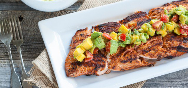 Blackened Salmon with Mango Avocado Salsa by Against All Grain