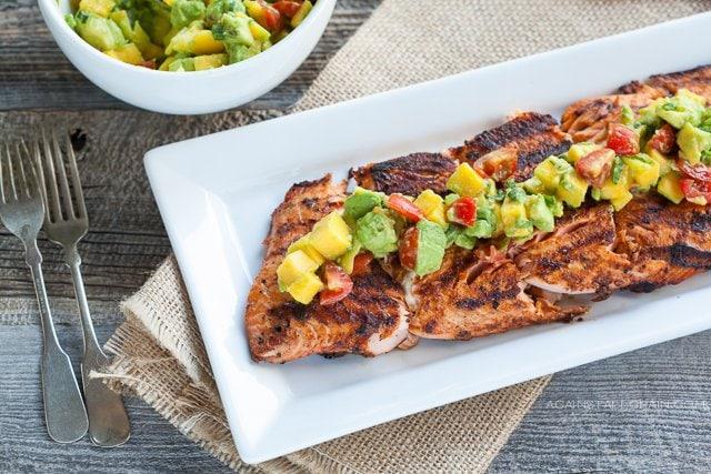 Blackened Salmon with Mango Avocado Salsa by Against All Grain