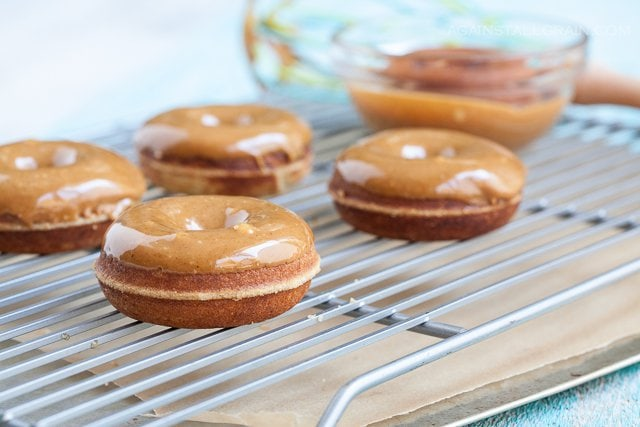 Vanilla Caramel Glazed Doughnuts (nut-free) from Against All Grain #paleo #grain-free #gluten-free