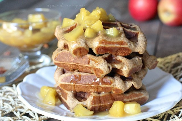 A plate stacked high with Caramel Apple Spice Waffles.