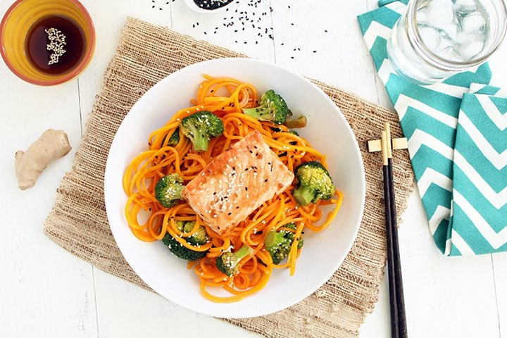 """Guest Post: Salmon with Butternut Squash """"Soba"""" Noodles and Sesame Broccoli"""