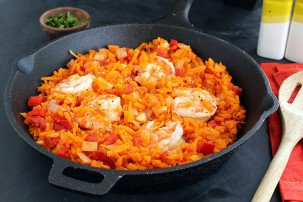 "Guest Post: Spicy Shrimp and Butternut Squash ""Rice"" with Tomatoes"