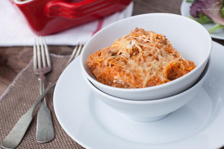 A bowl of Cheesy Baked Spaghetti Squash.