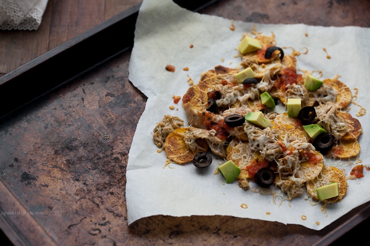A delicious serving of plantain chip nachos.
