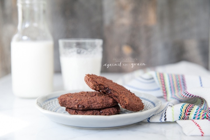 A plate of almond pulp double chocolate cookies that are dairy and egg free.