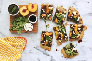 Guest Post: Grain-free Flatbread with Balsamic Basil Pesto, Peaches, Goat Cheese and Arugula