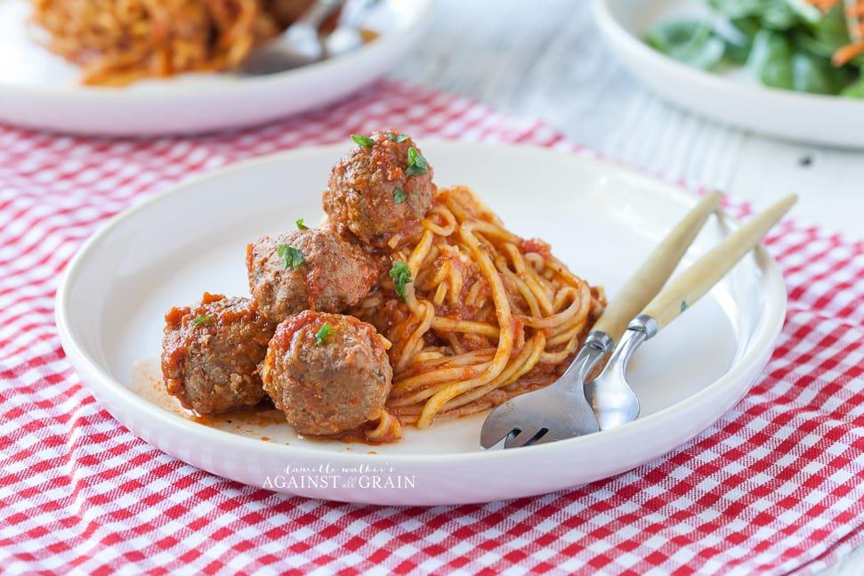 Paleo spaghetti and meatballs against all grain for Zucchini noodles and meatballs recipe