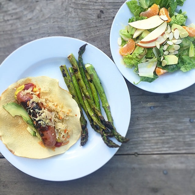Easy_dinner._Organic_chicken_apple_sausage_in_my_wraps_w_kraut_and_avo._And_a_salad_with_clementines__avocado__apples__almonds_and_champagne_vinaigrette.__mealsmadesimple__againstallgrain__aageats__Paleo__grainfree
