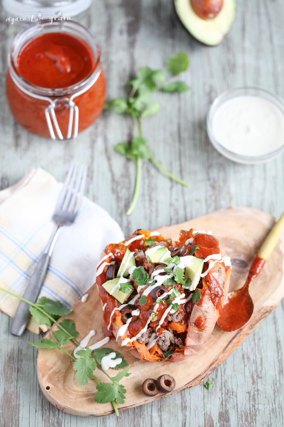 Paleo Stuffed Enchilada Sweet Potatoes -Danielle Walker Against all Grain