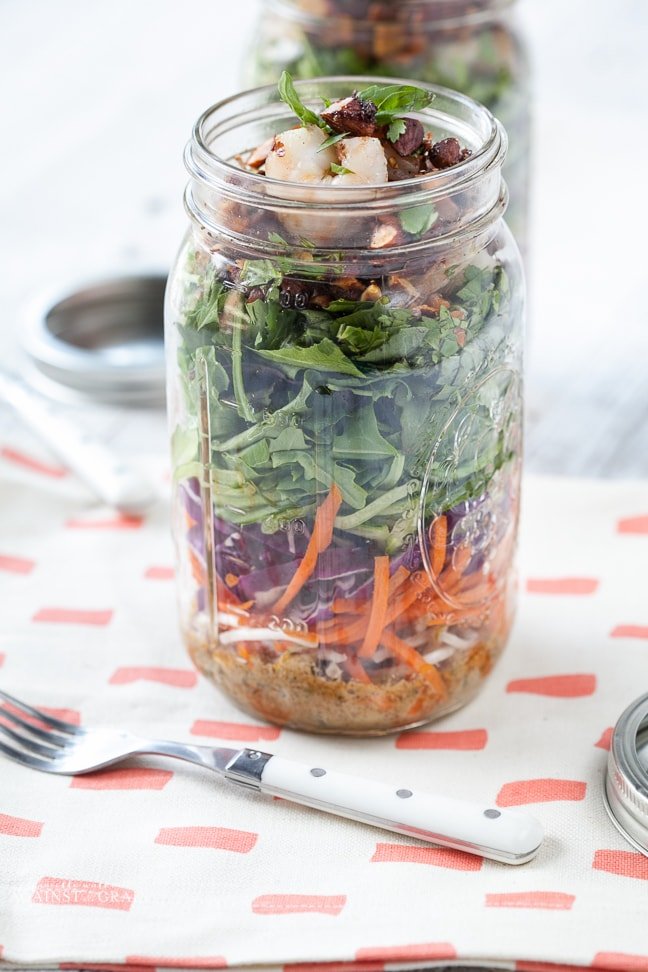 Mason Jar Salad - Thai Shrimp Salad | Against All Grain - Delectable ...