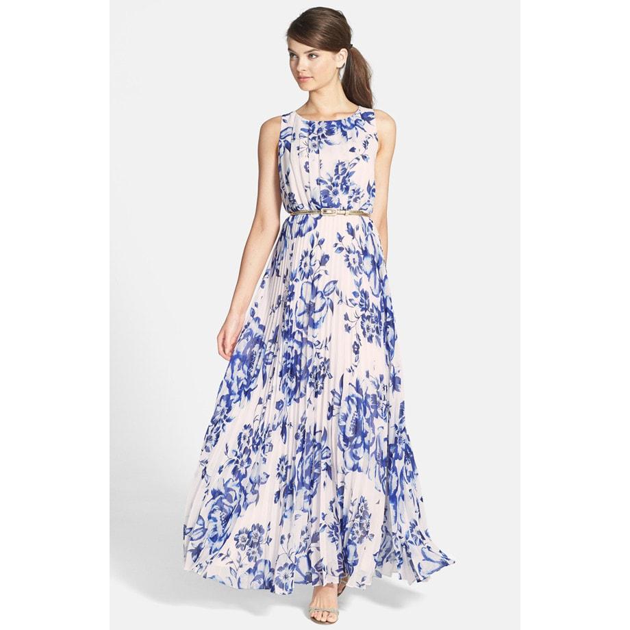 Pleated Chiffon Maxi Dress