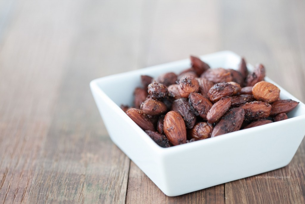 Crunchy and salty bowl of spicy almonds.