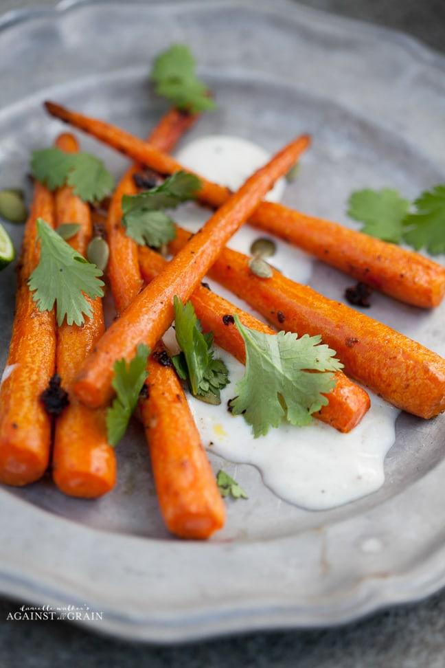 Cumin Roasted Carrots w Tequila Lime Yogurt Sauce Recipe - from Danielle Walker's Against all Grain
