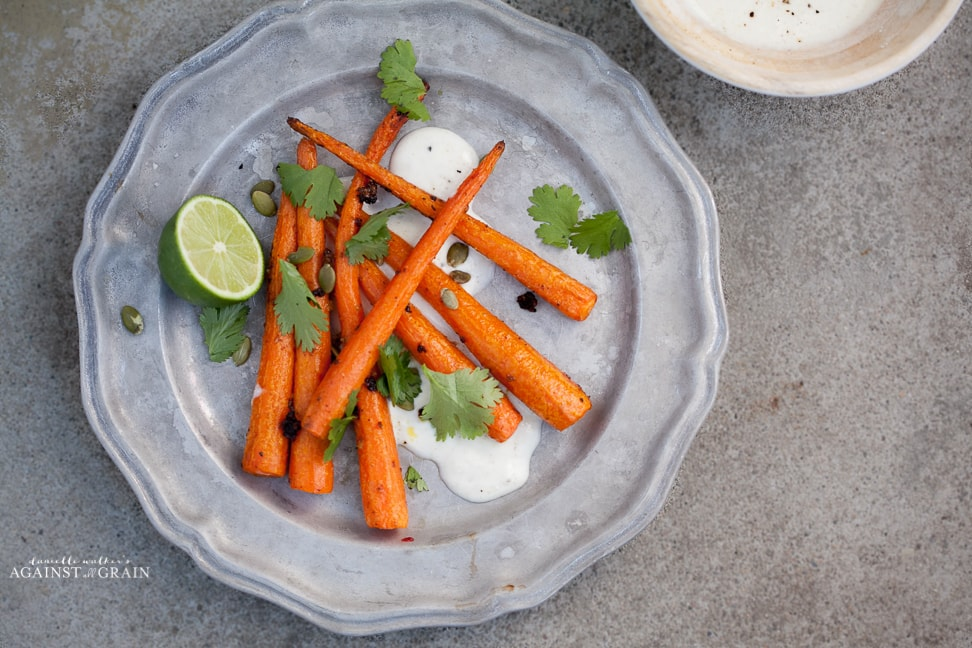 Cumin Roasted Carrots with Tequila Lime Yogurt Sauce Recipe from Danielle Walker's Against all Grain