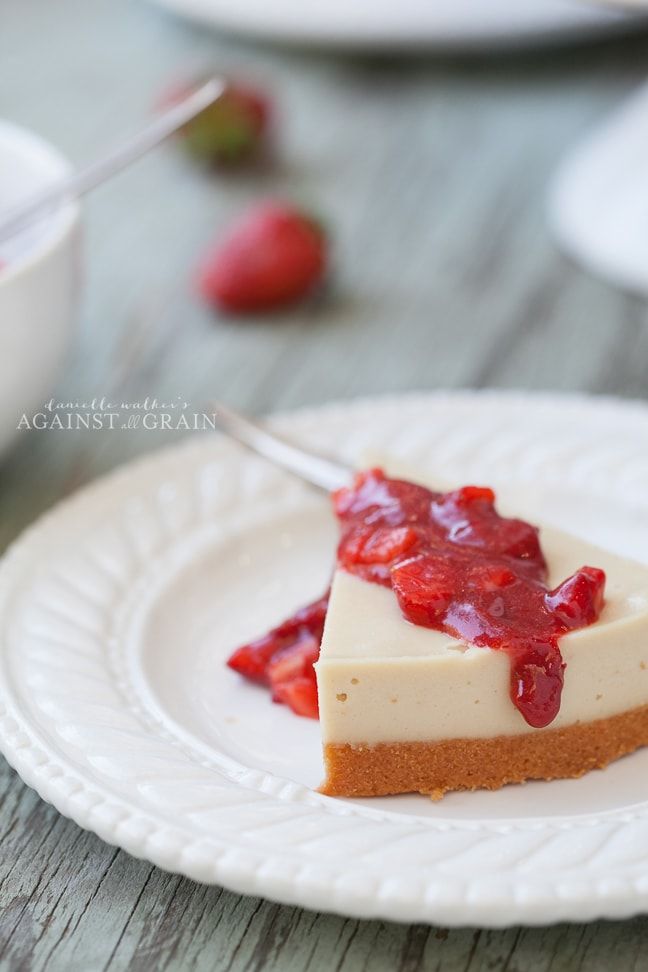 Paleo Dairy-Free Cheesecake with Strawberry Sauce | Danielle Walker's Against all Grain
