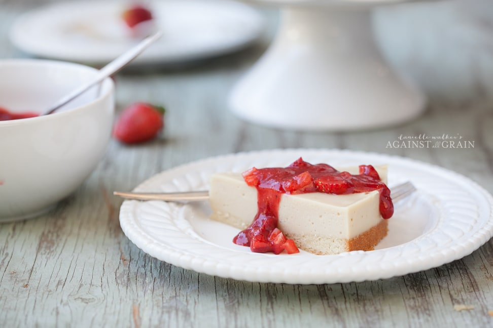 Paleo Dairy-Free Cheesecake with Strawberry Sauce by Danielle Walker's Against all Grain
