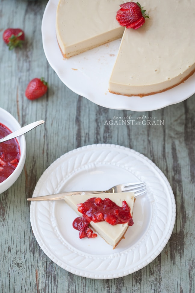 Paleo Dairy-Free Cheesecake with Strawberry Sauce from Danielle Walker's Against all Grain