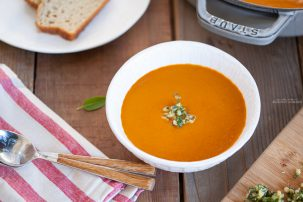 Creamy Tomato Soup with Pesto Gremolata