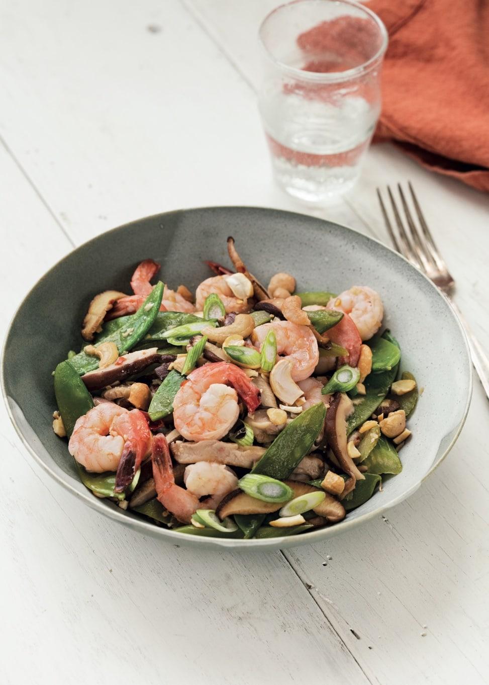 Shrimp, Snow Pea, and Shiitake Stir-Fry (c) Brent Herrig Vert
