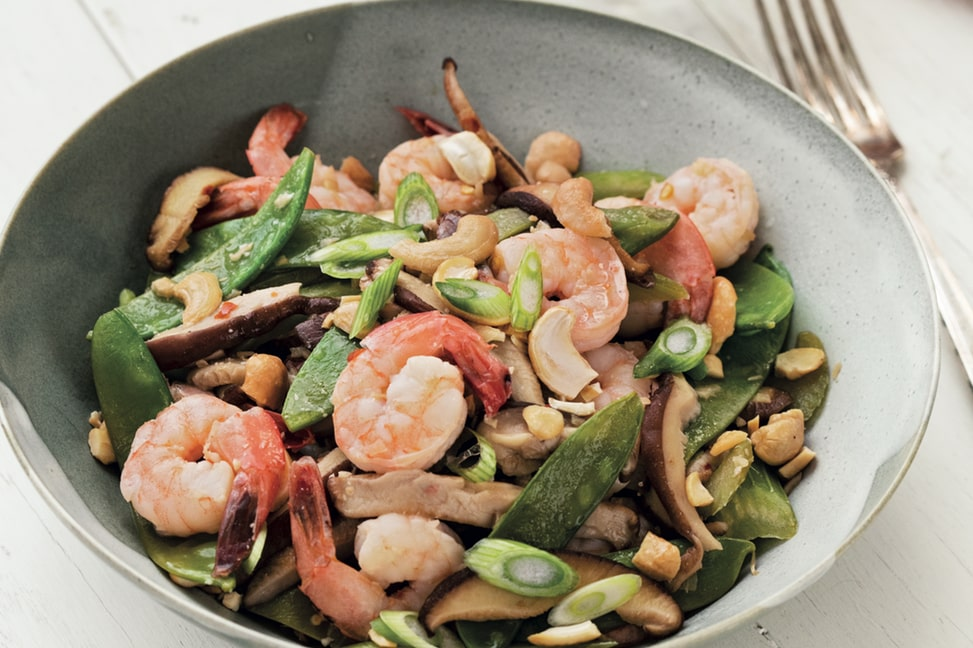 Shrimp, Snow Pea, and Shiitake Stir-Fry (c) Brent Herrig