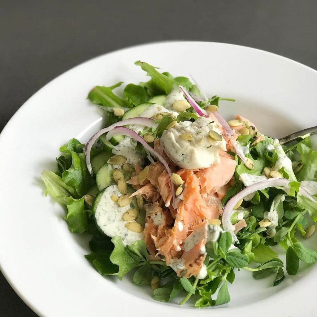 lunch salmon arugula