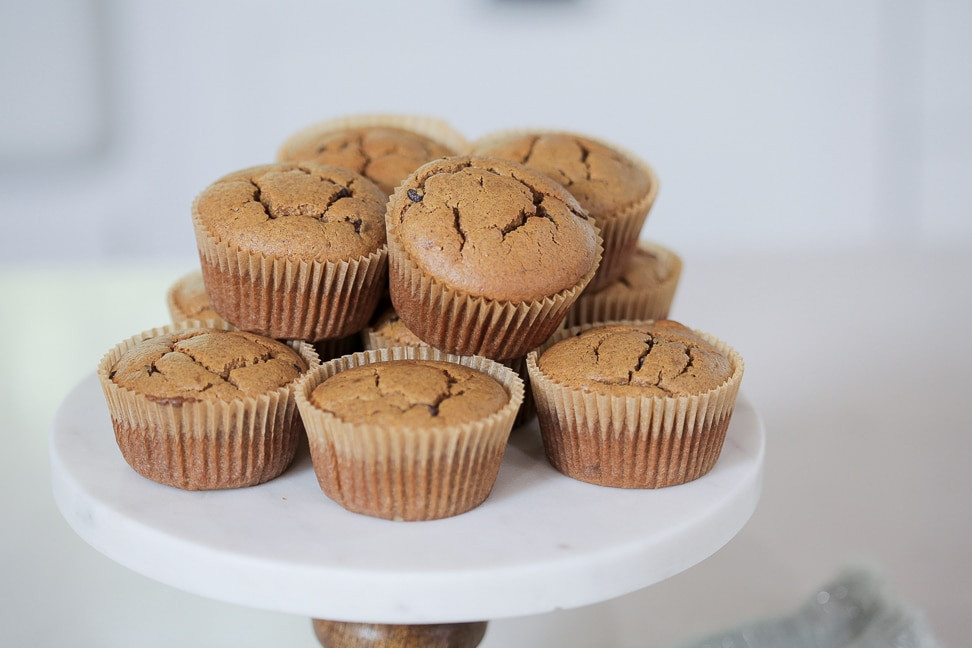 Gluten Free Pumpkin Chocolate Chip Muffins on a platter ready to be served