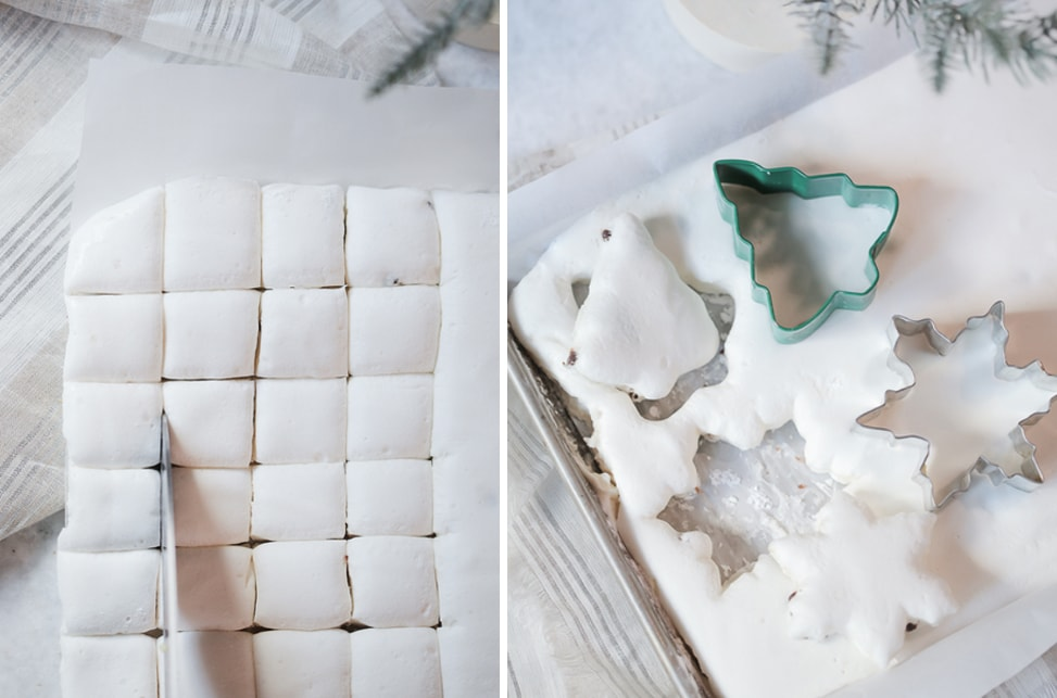 Gluten-free marshmallows cut into squares and also cut with Christmas themed cookie cutters