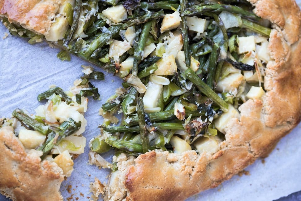 Delectable spring vegetable tart that is gluten free and vegetarian.