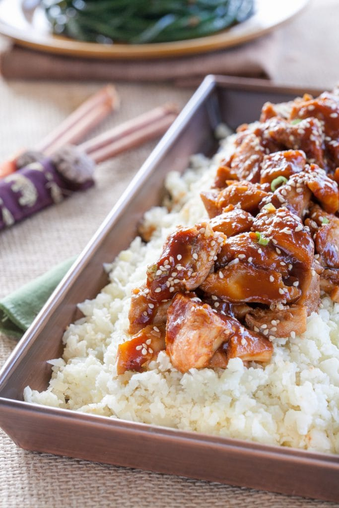 Gluten Free Sesame Orange Chicken with Cauliflower Rice
